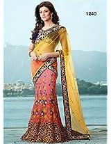 Bollywood Replica Sushmita Sen Net Lehenga Saree In Yellow And Pink Colour Nc 689