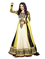 Inddus Exclusive Women Yellow/White Semistiched Salwar Kameez with Chiffon Dupatta