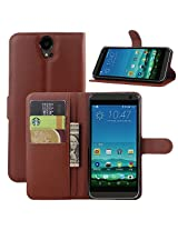 Excelsior Premium Leather Wallet Flip Cover Case For HTC One E9+ E9 Plus - Brown