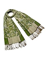 Dahlia Women's Scarf Shawl - Reversible Blooming Floral Garden - Green