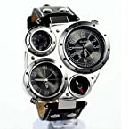 Metal Dial Watch with Dual Quartz Movement/Compass/Thermometer Black dial