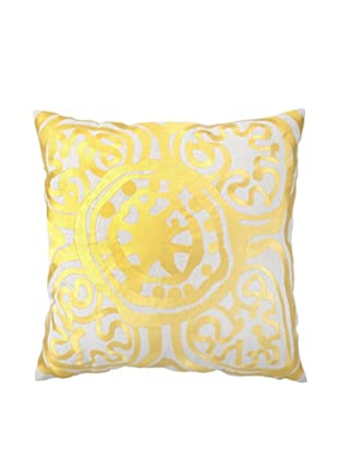 Trina Turk Rustic Medallion Embroidered Pillow (Yellow)