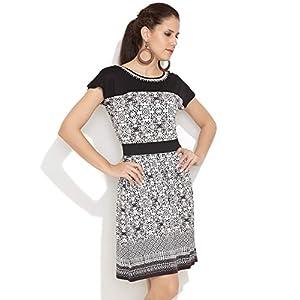Global Desi Muted Monochrome Dress -Black-XS