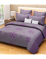 Home Candy 144 TC 100% Cotton Purple Flowers and Checks Double Bed Sheet with 2 Pillow Covers