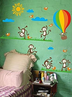 Ambiance Live Wandtattoo Monkeys, birds and Hot-air balloon mehrfarbig