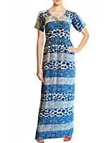BeforeAfter Women's Printed Maxi Dress [BAQ18-309_Multi Blue_Small]