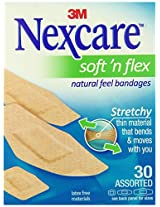 Nexcare Comfort Flexible Fabric Bandage, Latex Free, Assorted Sizes, 30 Count (Pack of 6)