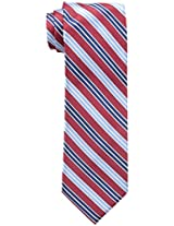 Haggar Men's Classic Washable Stripe Tie, Red, One Size