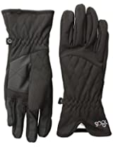 180s Women's Keystone Quilted Water Resistant Touch Screen Glove with Faux Leather Palm, Black, Large