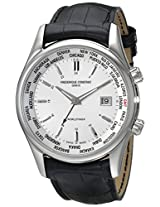 Frederique Constant Men's FC255S6B6 Classic Silver Dual Time Zone Dial Watch