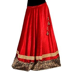Red Velvet and Brocade Readymade Long Skirt