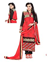 EXQUISITE EMBROIDERED straight cut Georgette red coloured suit