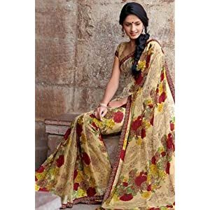 Peach Yellow Faux Georgette and Satin Printed Casual and Party Saree