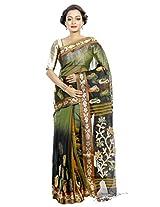B3Fashion Bengal Handloom Traditional Black & Green Soft Silk Blend Saree