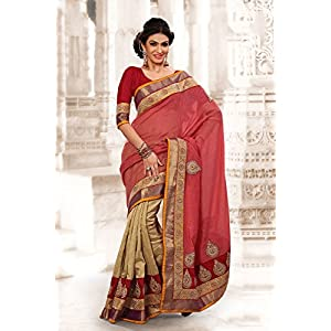 Alluring Red and Cream color Party Wear Saree
