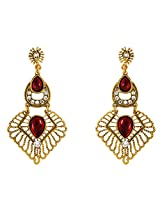 Donna Fashion Red Round Square Gold Plated Dangler Earrings with Crystals for Women ER30086G