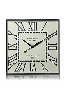 Tribeca Square Wall Clock with Roman Numerals (Silver)