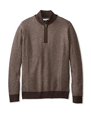 Alex Cannon Men's Calvary Twill Quarter Zip Sweater (Brown)