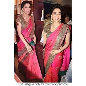 Bollywood Replica Madhuri Dixit Chiffon Georgette Material Pink Colored Saree By Ninecolours - Model Number NC366