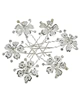 Muchmore Funky Silver Color Design Work 6 Hair Clips For Women & Girls Partywear Jewelry