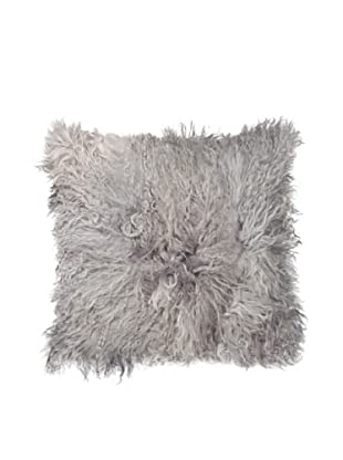 Natural Brand Mongolian Sheepskin Pillow, Gray