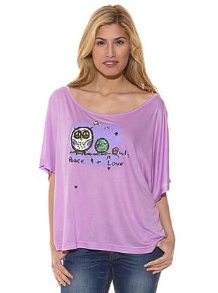 Peace & Love Camiseta Estampada Buho (Lila)