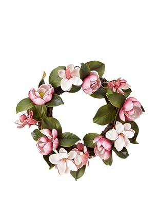 Winward Faux Magnolia Wreath, Fuchsia
