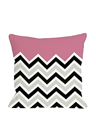 One Bella Casa Chevron/Solid 18x18 Outdoor Throw Pillow (Hot Pink)