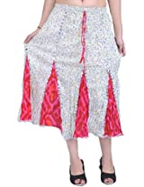 Exotic India Black and Pink Batik Midi-Skirt with Sequins - Color Ivory And PinkGarment Size Free Size