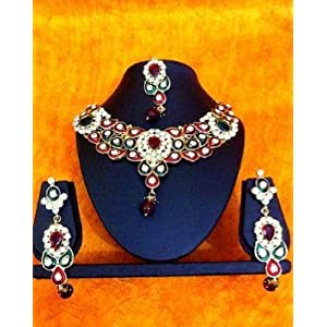 Necklace sets - Ethnic Indian Women Jewelry Bridal Maroon Green Antique Stone Necklace Set hi10a