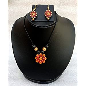 Anikalan Designs Orange flower terracotta necklace set