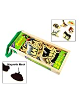 23Pcs Wooden Magnetic Cutout Stickers in Wooden Carry Case for Kids Ages 3+ Years - Animals