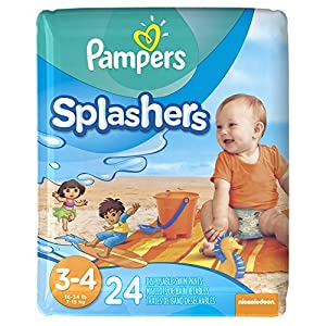 Pampers Splashers Disposable Swim Pants, Size 3-4, 24 ct