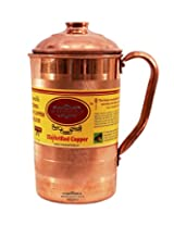 "IndianCraftVilla 6.5"" X 4.0"" Handmade Luxury 100% Pure Copper Jug Pitcher Volume 1.3 Liter With Lid storage drinking Water Good Health Benefits Indian Yoga, Ayurveda"