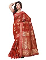 Manvi Traditional Brick Color South Indian Cotton Saree ( Red ) (MSCAS1037)