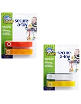 Baby Buddy 4 Count Secure-A-Toy Toy Straps, Orange/Gold/Yellow/White