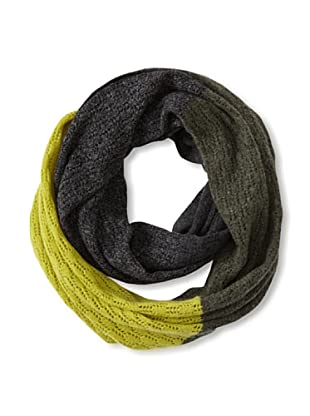 Qi Cashmere Women's Hannah Colorblocked Cashmere Snood (Army Green Combo)