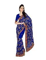 Sourbh Faux Georgette Zari Saree (4873 _Royal Blue)