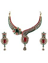 Vivanta Multi-Coloured Gold Plated Necklace And Earrings Set For Women (VD-N102)