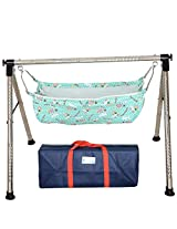Indian Style Fully Folding Stainless Steel Ghodiyu (Baby Cradle) with Cotton Hammock