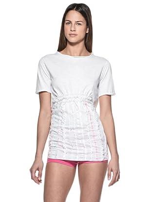 Crema Camiseta Encajes y Ribetes (Blanco)