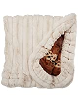 BESSIE AND BARNIE Pet Blanket, Small, Wild Kingdom/Natural Beauty with Ruffle