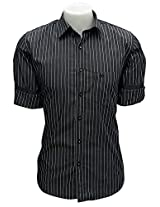Cairon Black Satin Stripe Casual Shirt Sf-C5607_A