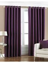 PINDIA Faux Silk Eyelet Door Window Curtain, Polyester Plain Ringtop - 4 ft - Purple
