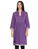 Dhwani Womens Cotton Kurta -Purple -Medium