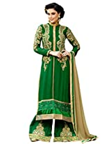 Green Designer Georgette Pakistani Semi Stiched Salwar Suit VIROL-10048