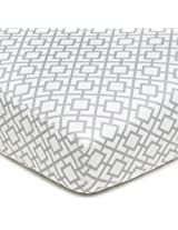 American Baby Company 100% Cotton Percale Fitted Crib Sheet, Gray Lattice By American Baby Company