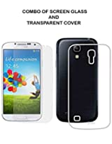 Value Combo Of HD Quality Tempered Glass and Soft Transparent Clear Back Case Cover For Samsung Galaxy S4 i9500