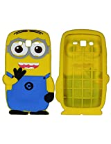 Heartly Cute Cartoon Minion Soft Rubber Silicone Flip Bumper Best Back Case Cover For Samsung Galaxy Grand 2 G7102 G7106 Double Eye
