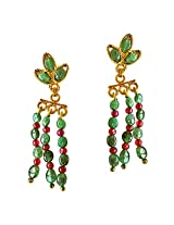 Surat Diamonds Real Green Emerald, Red Ruby and Gold Plated Hanging Earrings for Women (SE252)